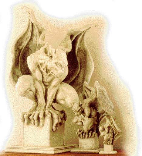 Winged gargoyle sculptures.