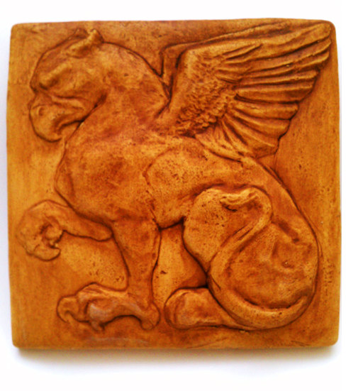 Gryphon/Griffin Glazed Tile by Sandra Lira